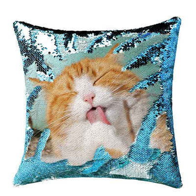 Custom Sequin Throw Pillow with Photo