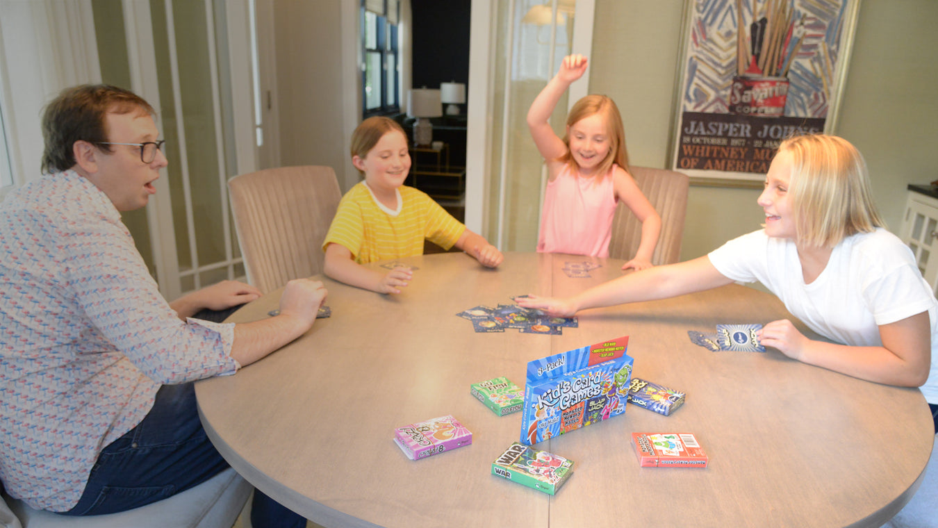 classic card games, children's card games, kids cards games, family entertainment, regal games, family time together, games with kids, family time, memory card games