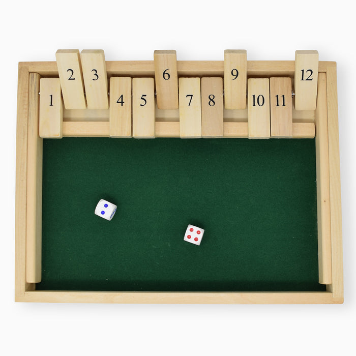 classic wood games, shut the box, classic wood board games, real wood board games, real wood games, travel game, regal games