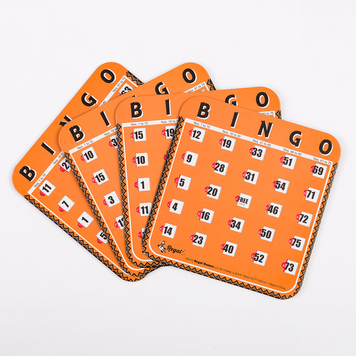 shuttered bingo cards, orange bingo cards, complete bingo set, family bingo sets, complete bingo game