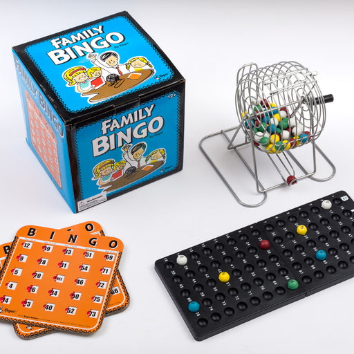 family bingo set, shutter bingo cards, metal bingo cage, entertainment for the family, bingo, bingo accessories
