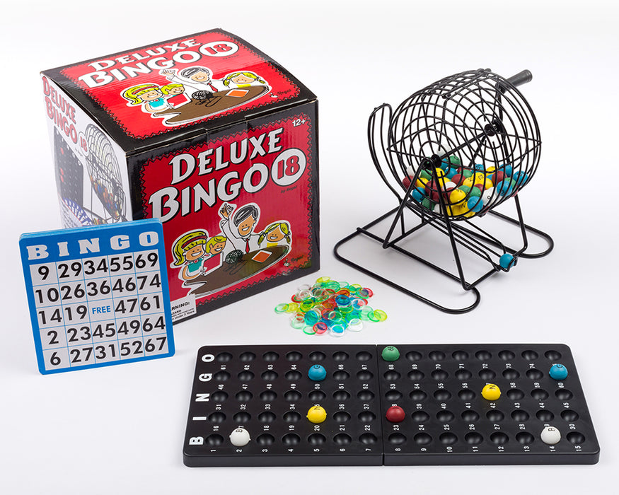 bingo deluxe set, family fun, bingo set, family games, complete bingo set, bingo sets, bingo accessories, bingo, regal games bingo, bingo cards, bingo calling balls, bingo balls