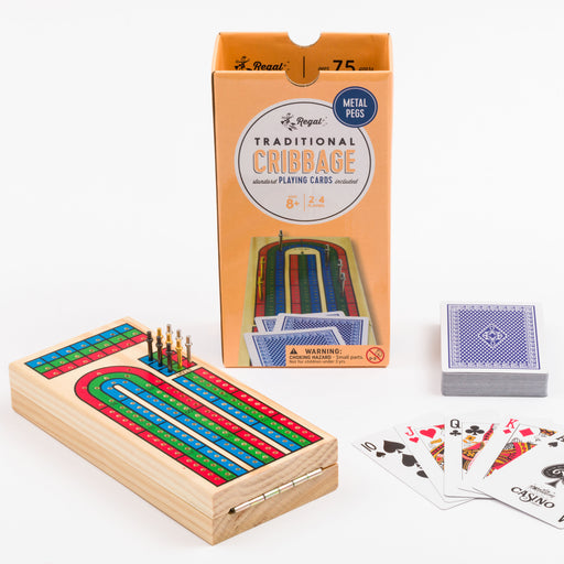 classic wood games, cribbage, card games, classic card games, cribbage pieces, travel game, regal games