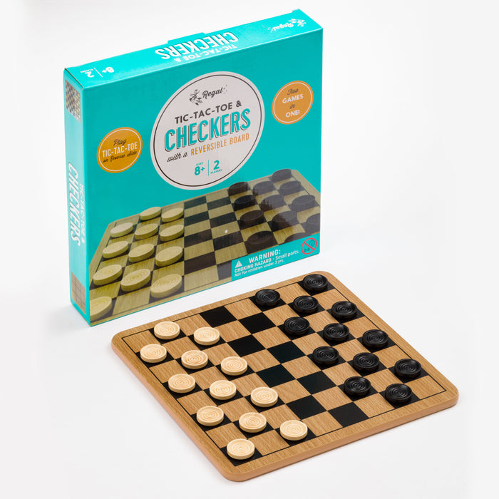tic tac toe, checkers, dual purpose game board, wood game board, classic games, checkers board, tic tac toe board, regal games, classic wood games