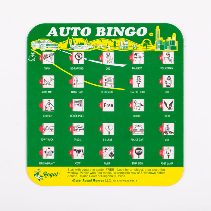 travel bingo, bingo card, regal games bingo cards, bingo accessory, bingo accessories, adult bingo, seniors bingo, childrens bingo, kid bingo, bingo sets, travel bingo sets, One of the greatest classic road trip games