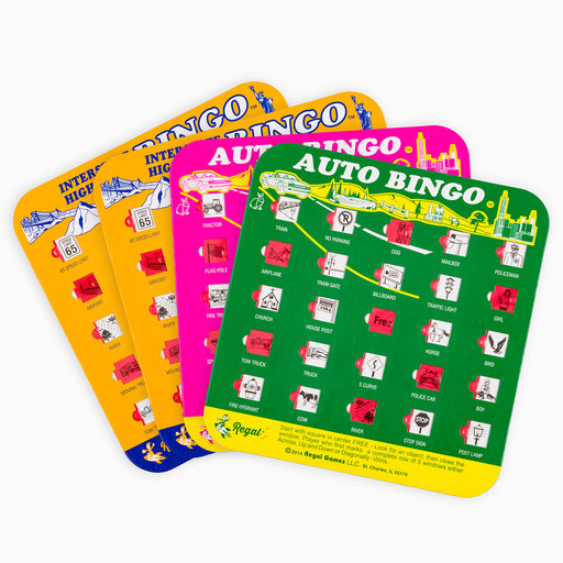 car games, travel bingo, travel bingo cards,4 unique cards, kids bingo, car travel bingo, regal games, classic games, classic bingo game, colorful bingo cards