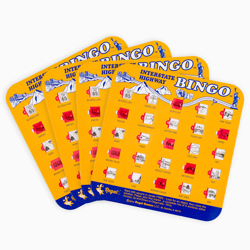 bingo interstate highway bingo set, regal games interstate highway bingo, travel games, travel bingo, games for cars, bingo for cars, travel car bingo, auto bingo cards, bingo cards with sliding windows, travel games for kids, games for kids in cars