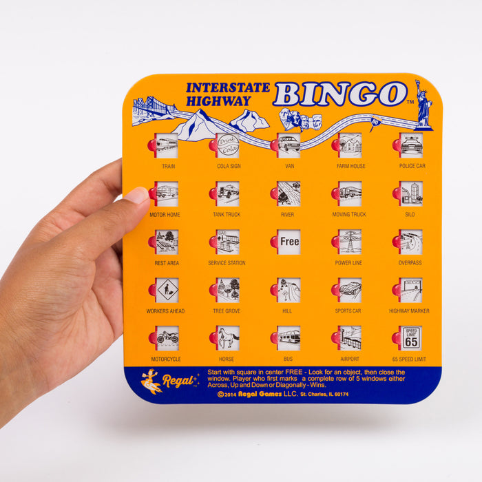 bingo interstate highway bingo set, regal games interstate highway bingo, travel games, travel bingo, games for cars, bingo for cars, travel car bingo, auto bingo cards, bingo cards with sliding windows, travel games for kids, games for kids in cars, sliding door bingo cards