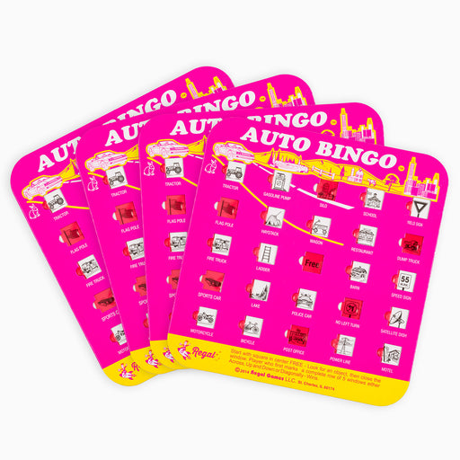 original auto bingo, regal games travel bingo,bingo complete auto bingo set, travel games, travel bingo, games for cars, bingo for cars, travel car bingo, auto bingo cards, bingo cards with sliding windows, travel games for kids