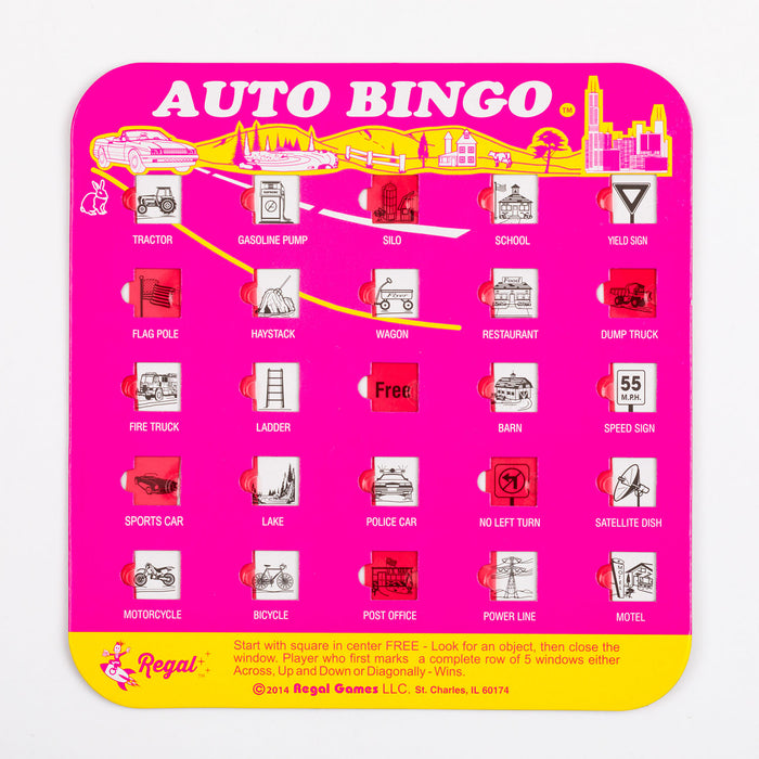 bingo complete auto bingo set, travel games, travel bingo, games for cars, bingo for cars, travel car bingo, auto bingo cards, bingo cards with sliding windows, travel games for kids, games for kids in cars