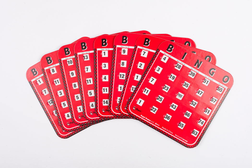red bingo cards, replacement bingo cards, sliding window bingo cards finger sliding cards