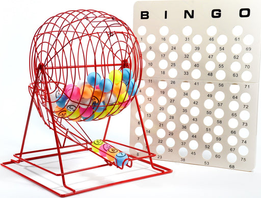 complete bingo set, jumbo red bingo cage, bingo ball holder, bingo balls, multicolor bingo balls, senior bingo set, red metal bingo calling cage