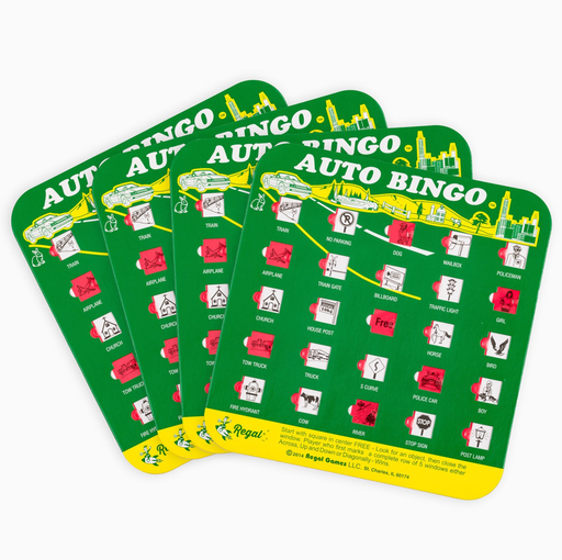 bingo card, regal games bingo cards, bingo accessory, bingo accessories, adult bingo, seniors bingo, childrens bingo, kid bingo, bingo sets, travel bingo sets, travel bingo, green bingo cards, One of the greatest classic road trip games