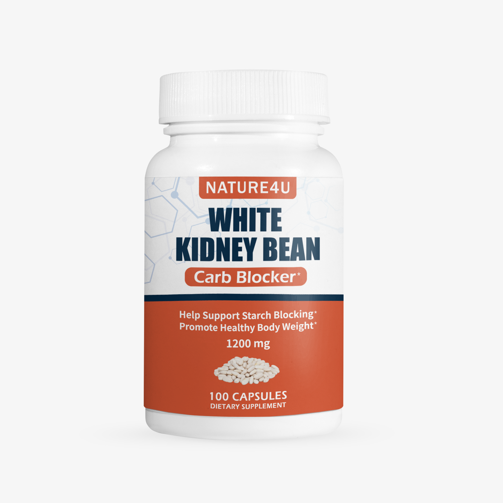 White Kidney Bean 1200mg Supplement 100 Capsules