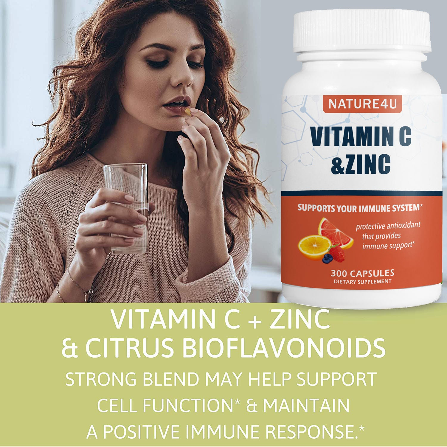 Vitamin C 1000mg with Zinc  for Immune Support Health 300 Capsules