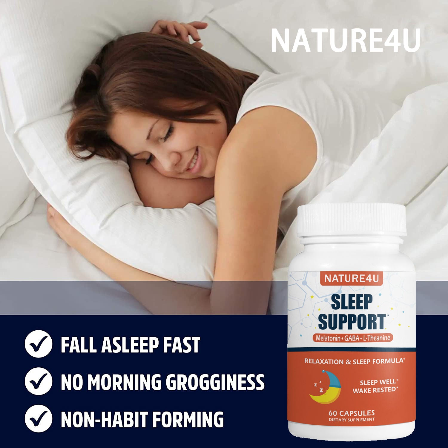 Sleep Support Melatonin Anxiety & Insomnia Relief 60 Capsules