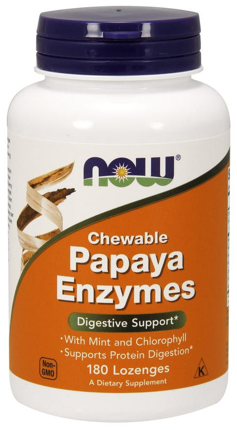 Now Foods Chewable Papaya Enzymes, 180 Lozenges