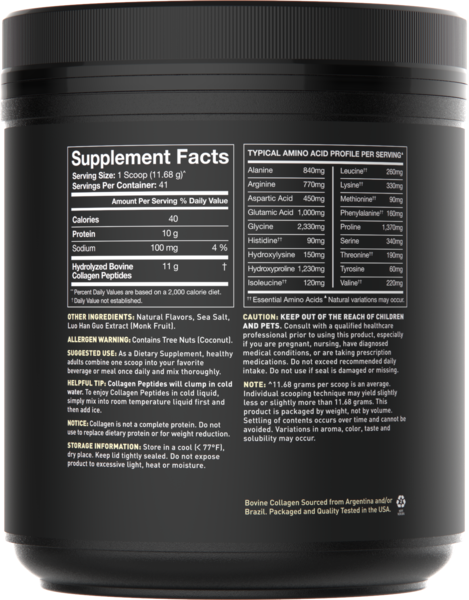 Sports Research - Naturally Flavoured Collagen Peptides, Vanilla Bean, 478.88g
