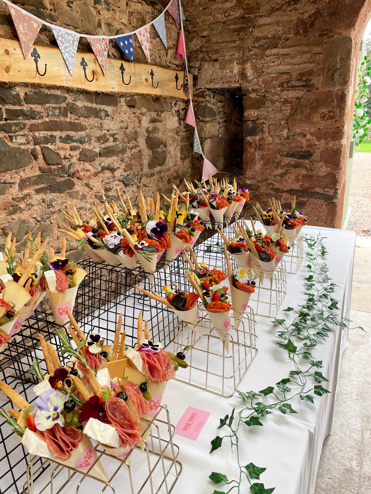 grazing canapé cones filled with cheese and charcuterie edinburgh
