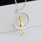 Cat on Crescent Necklace