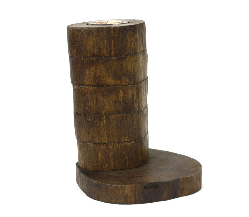 Teak candle holder - 5 step version - farangshop-co