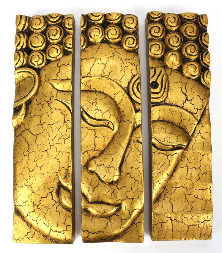 Buddha face panel, 3-part woodcarving Thailand - dark or gold, 38.5cm - farangshop-co