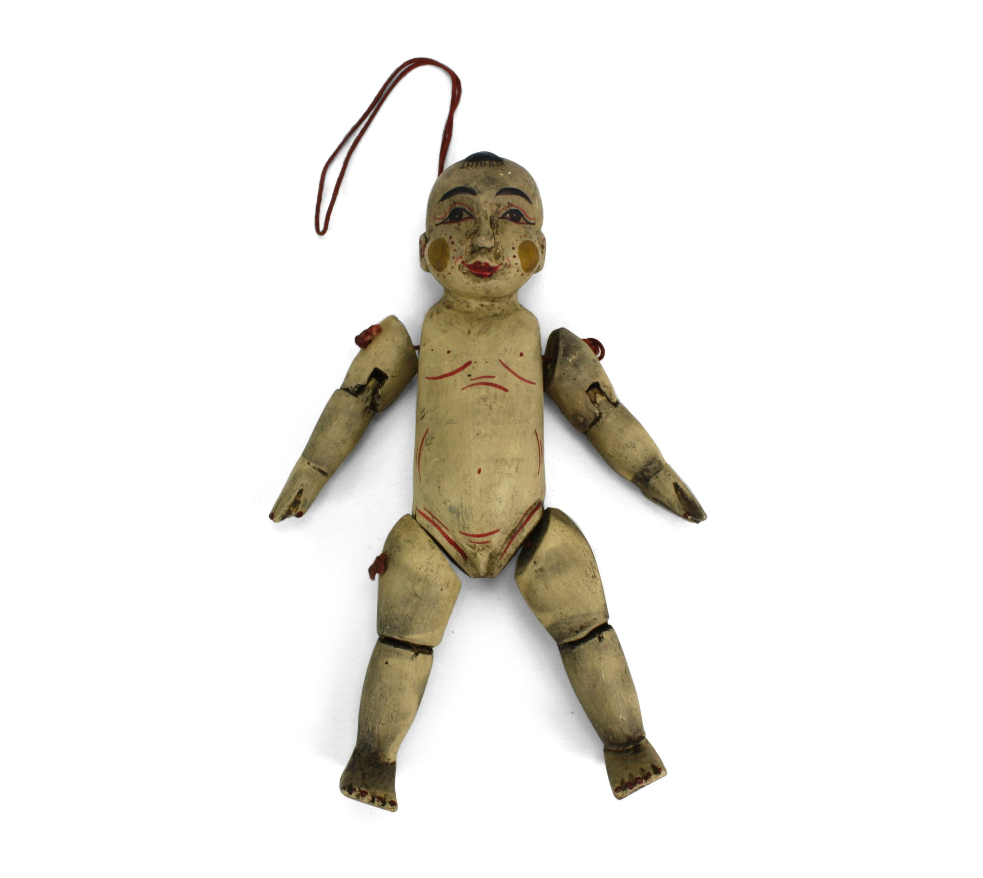 Traditional authentic Burmese Puppet Marionette, old style little boy. NV01. - farangshop-co