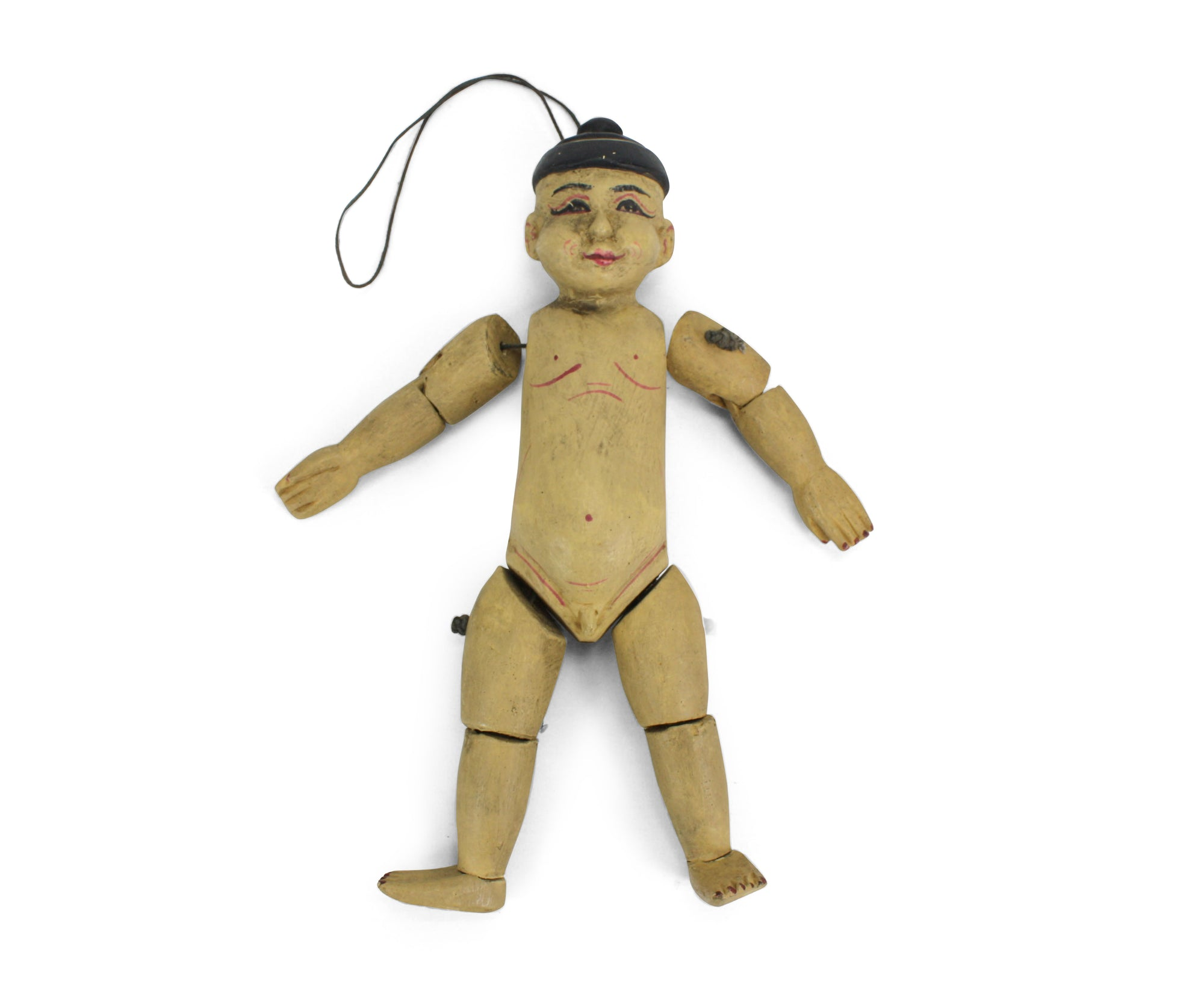 Traditional authentic Burmese Puppet Marionette, old style little boy. NV02. - farangshop-co
