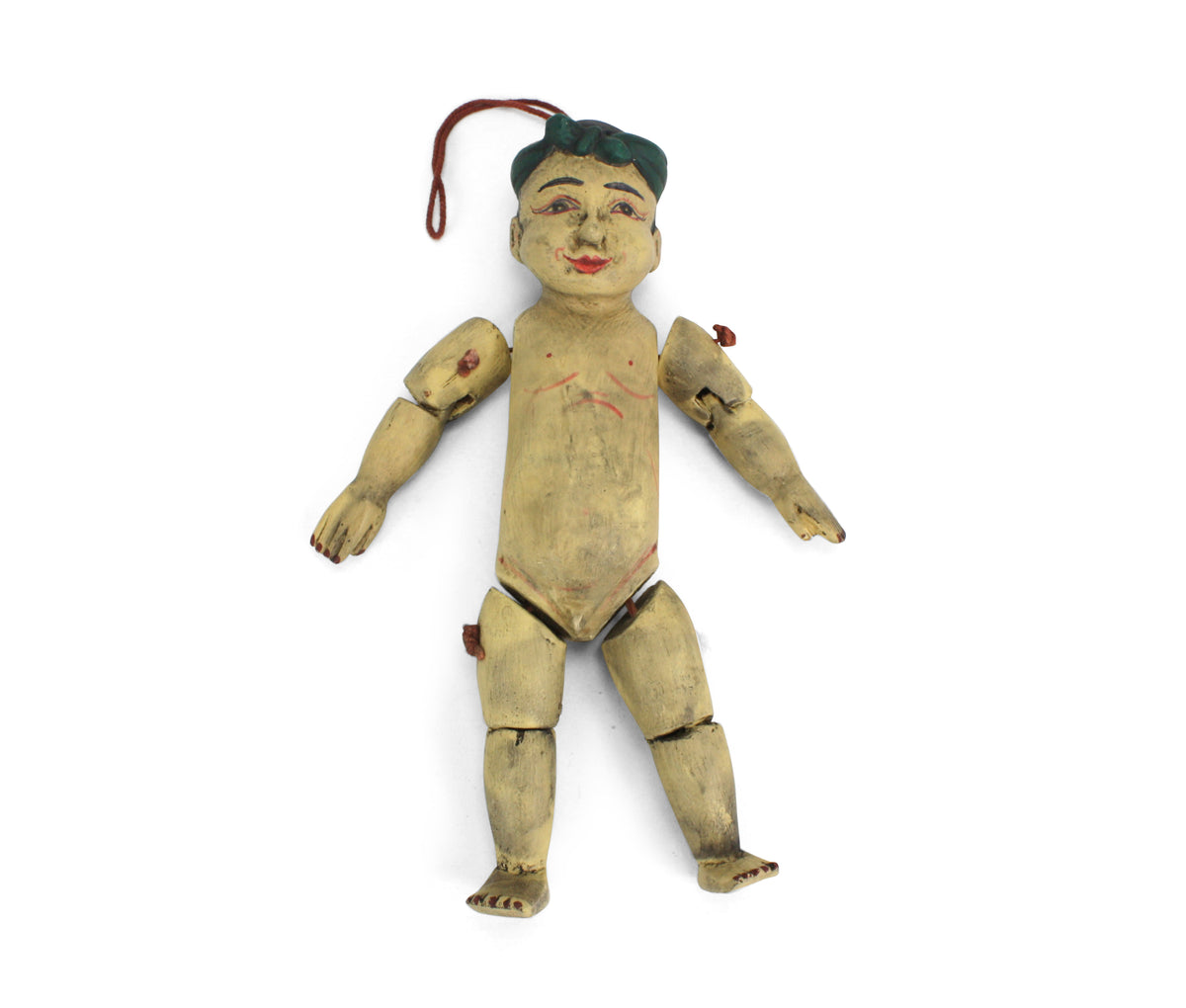 Traditional authentic Burmese Puppet Marionette, old style little boy. NV07. - farangshop-co