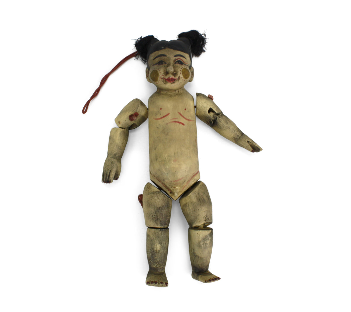 Traditional authentic Burmese Puppet Marionette, old style little boy. NV08. - farangshop-co