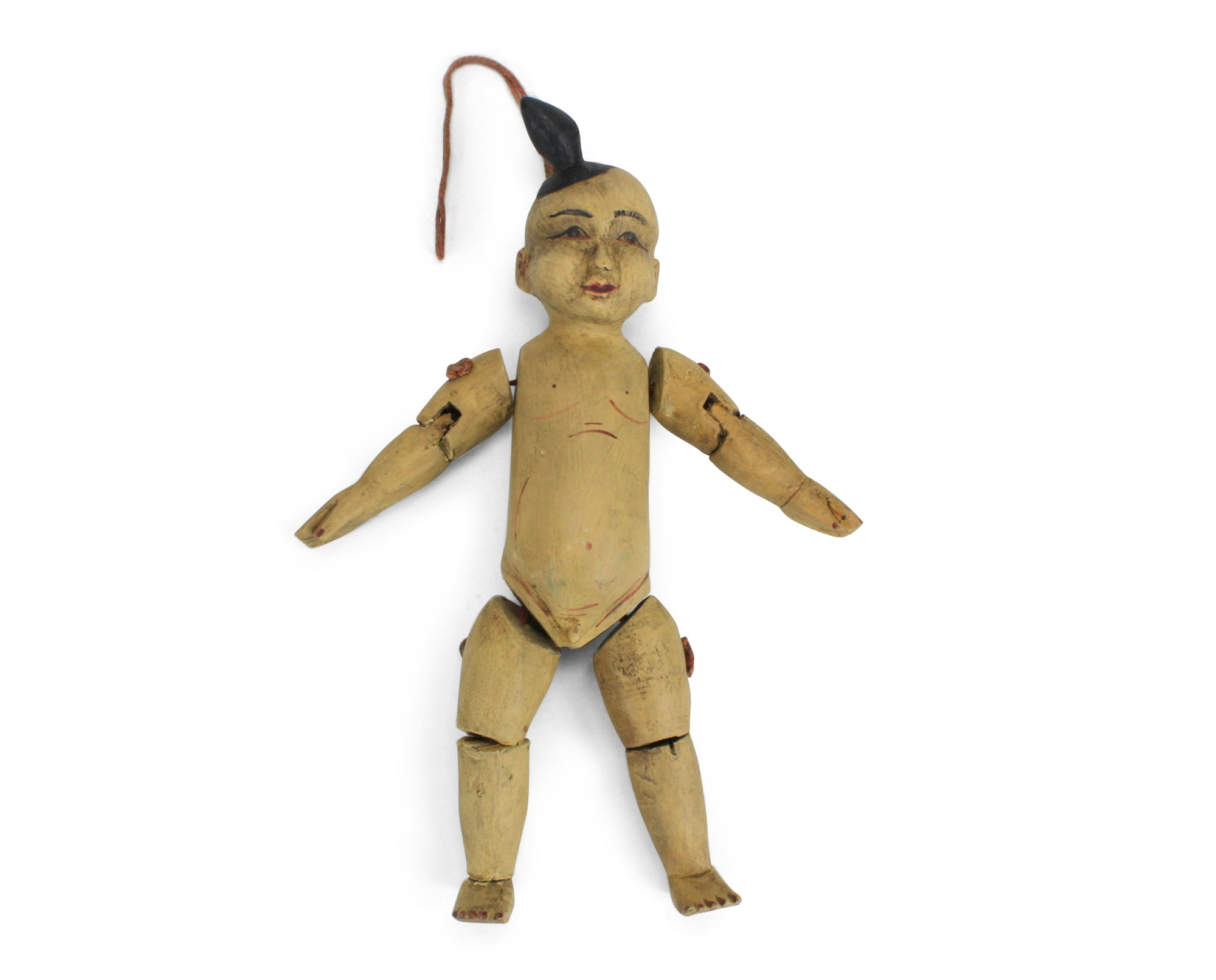 Traditional authentic Burmese Puppet Marionette, old style little boy. NV12. - farangshop-co
