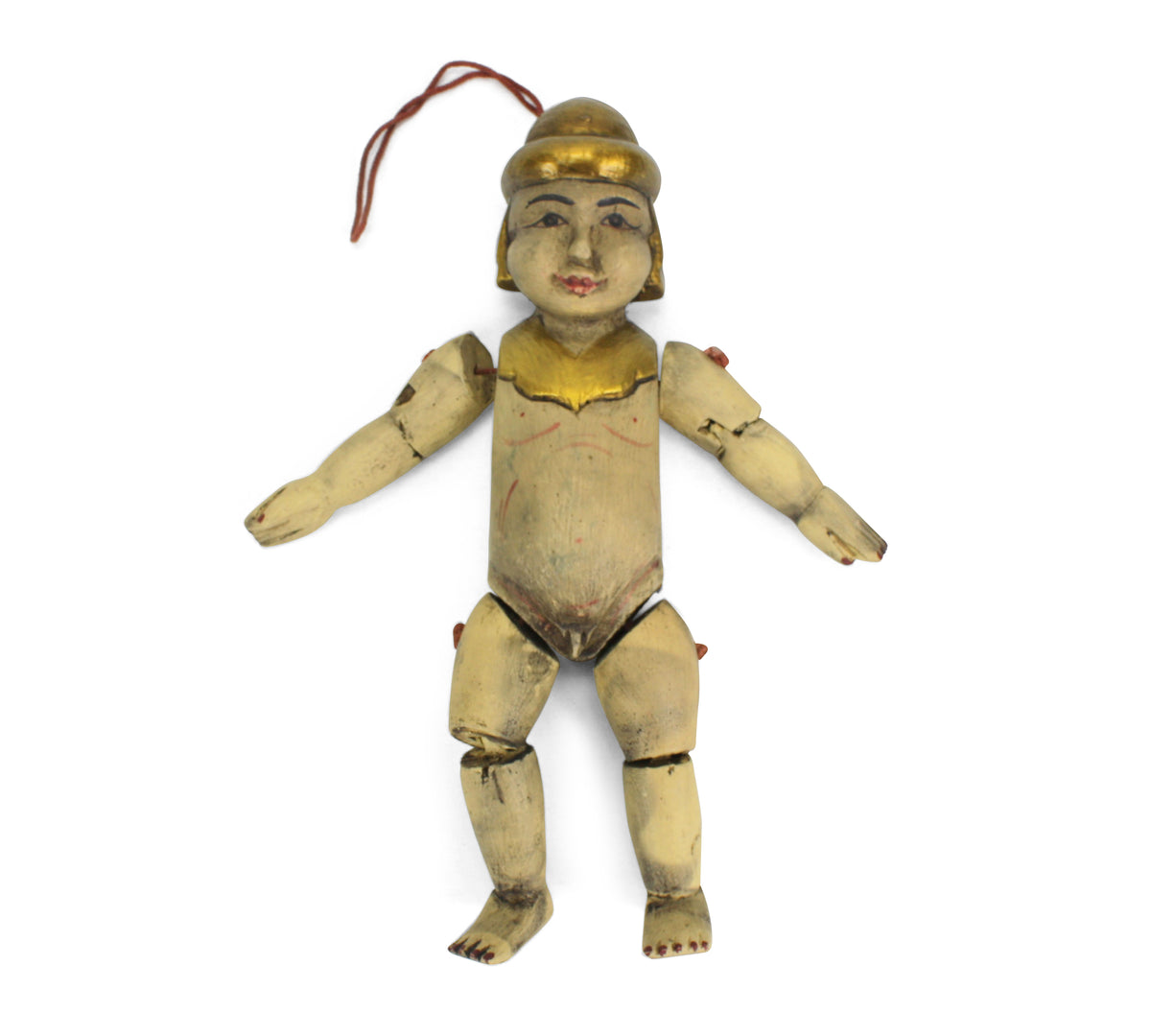 Traditional authentic Burmese Puppet Marionette, old style little boy. NV14. - farangshop-co