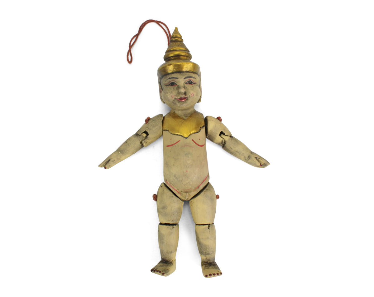 Traditional authentic Burmese Puppet Marionette, old style little boy. NV15. - farangshop-co