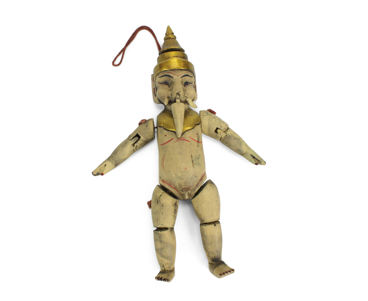Traditional authentic Burmese Puppet Marionette, old style little Ganesh. GN01. - farangshop-co