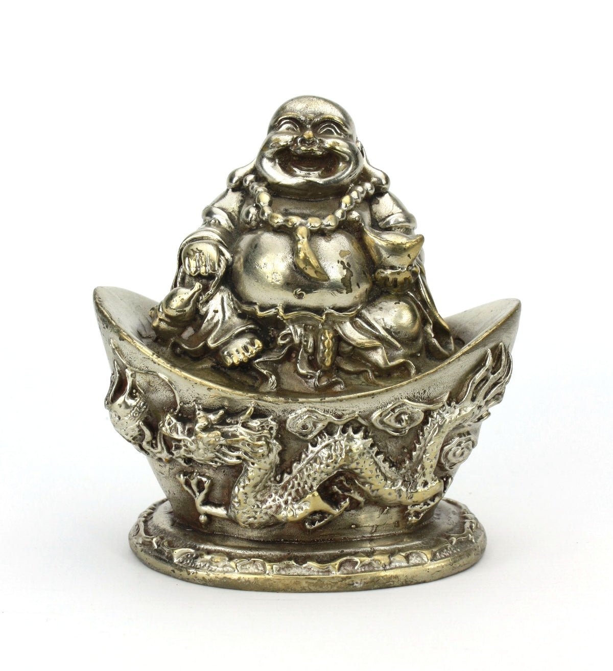 Silver Metal Happy Buddha Statue, Approx 10cm high, Style HB5 - farangshop-co