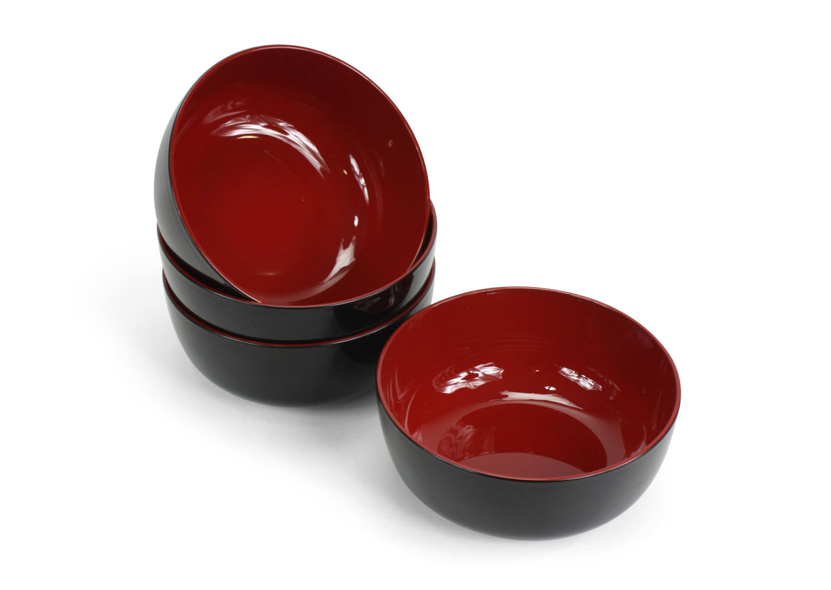 Japanese Large Lacquer Food Bowl, Noodle Bowl, Black with Red Interior. 16.8cm. - farangshop-co