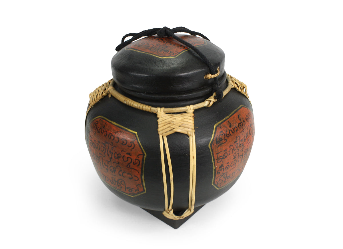 Rice seed box - Large Spherical Box, 28cm high, Lanna style, Black - farangshop-co