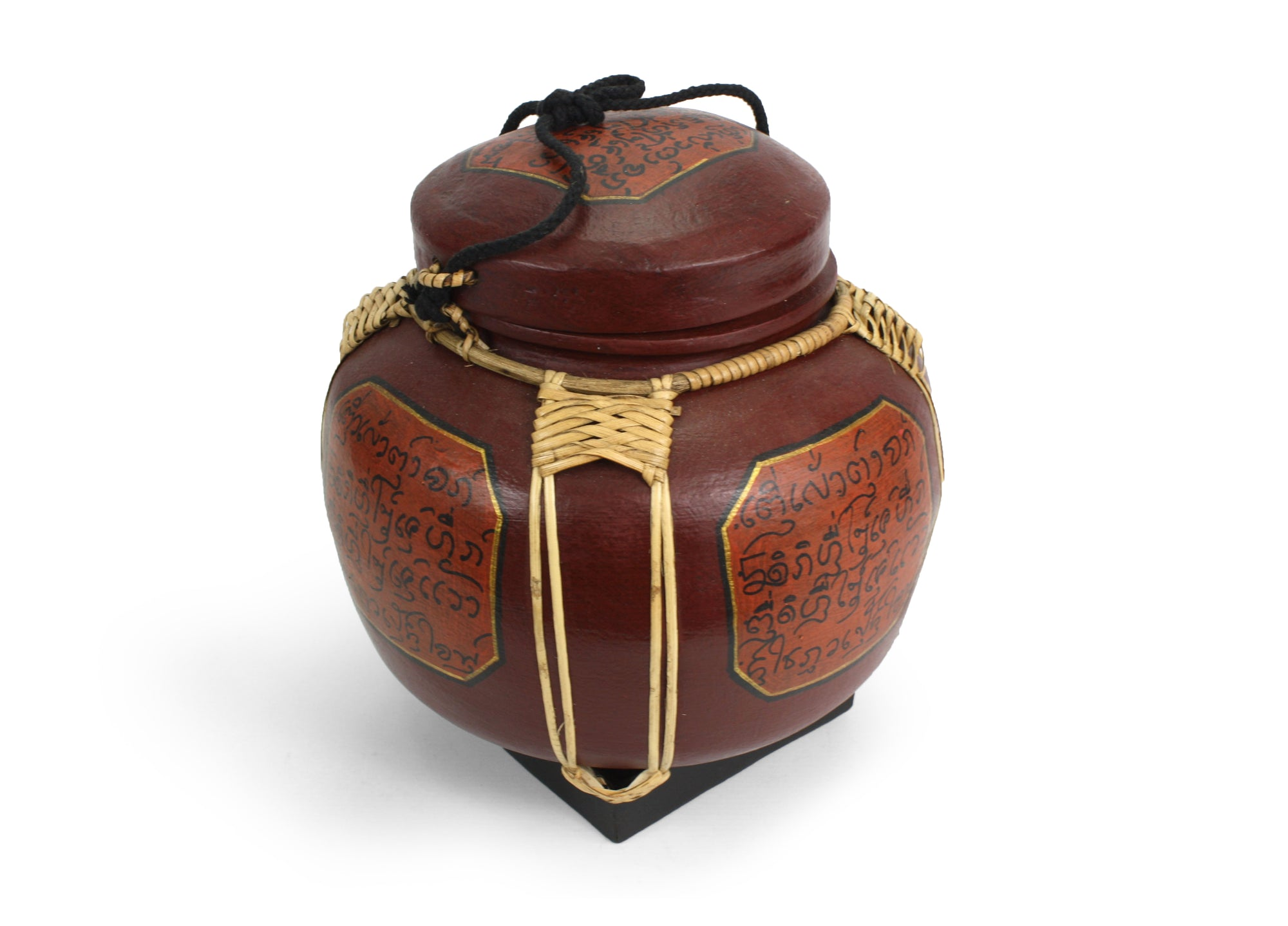 Rice seed box - Large Spherical Box, 28cm high, Lanna style, Reddish Brown - farangshop-co