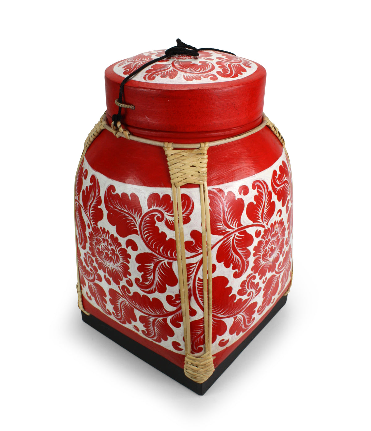 XXL Rice seed box - Extra Extra Large Lacquered Bamboo Basket, 52cm high, REDWH06 - farangshop-co