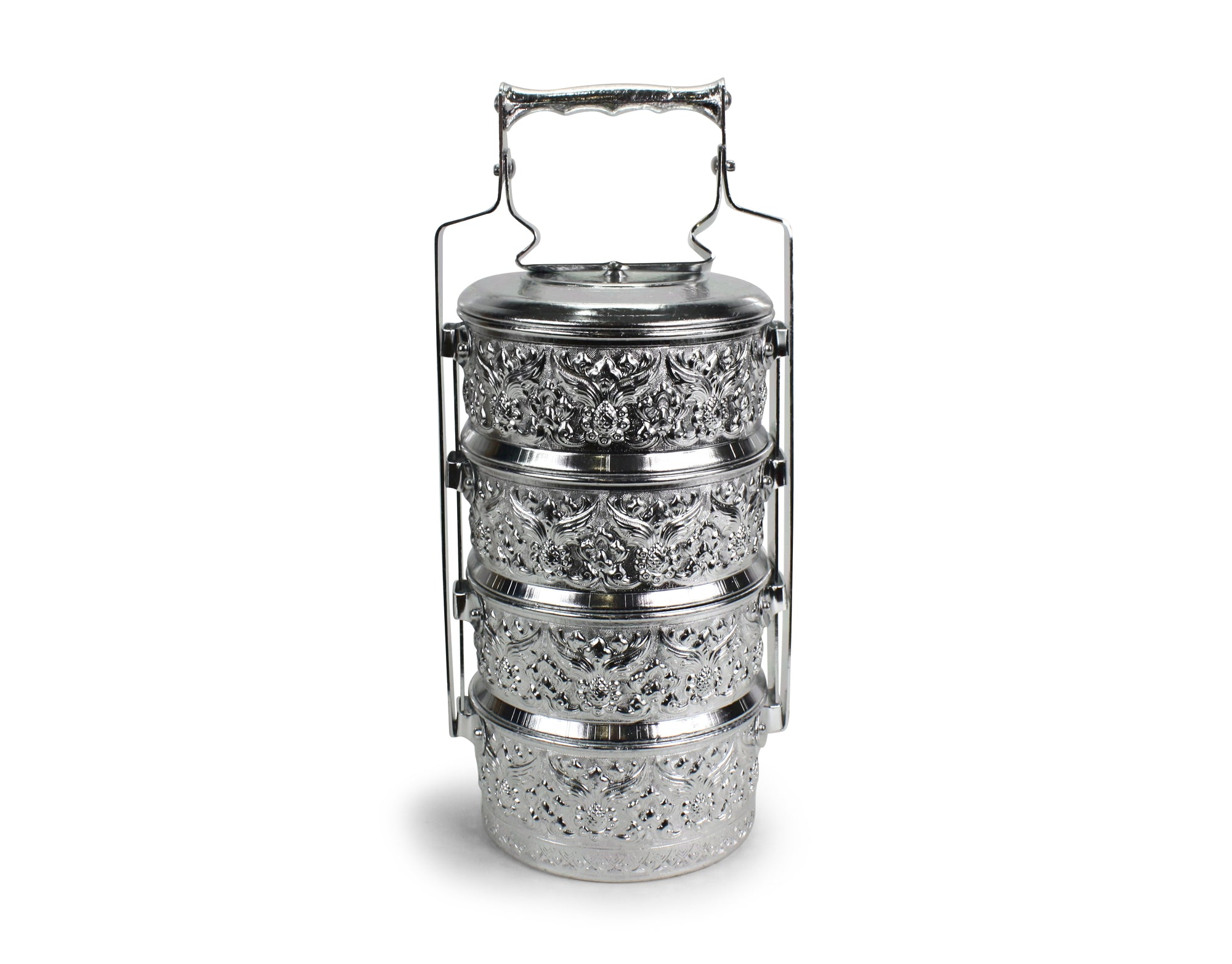 Traditional Thai Metal Food Carrier, 4 bowls, 14cm x 4. Tiffin box. Aluminium. - farangshop-co
