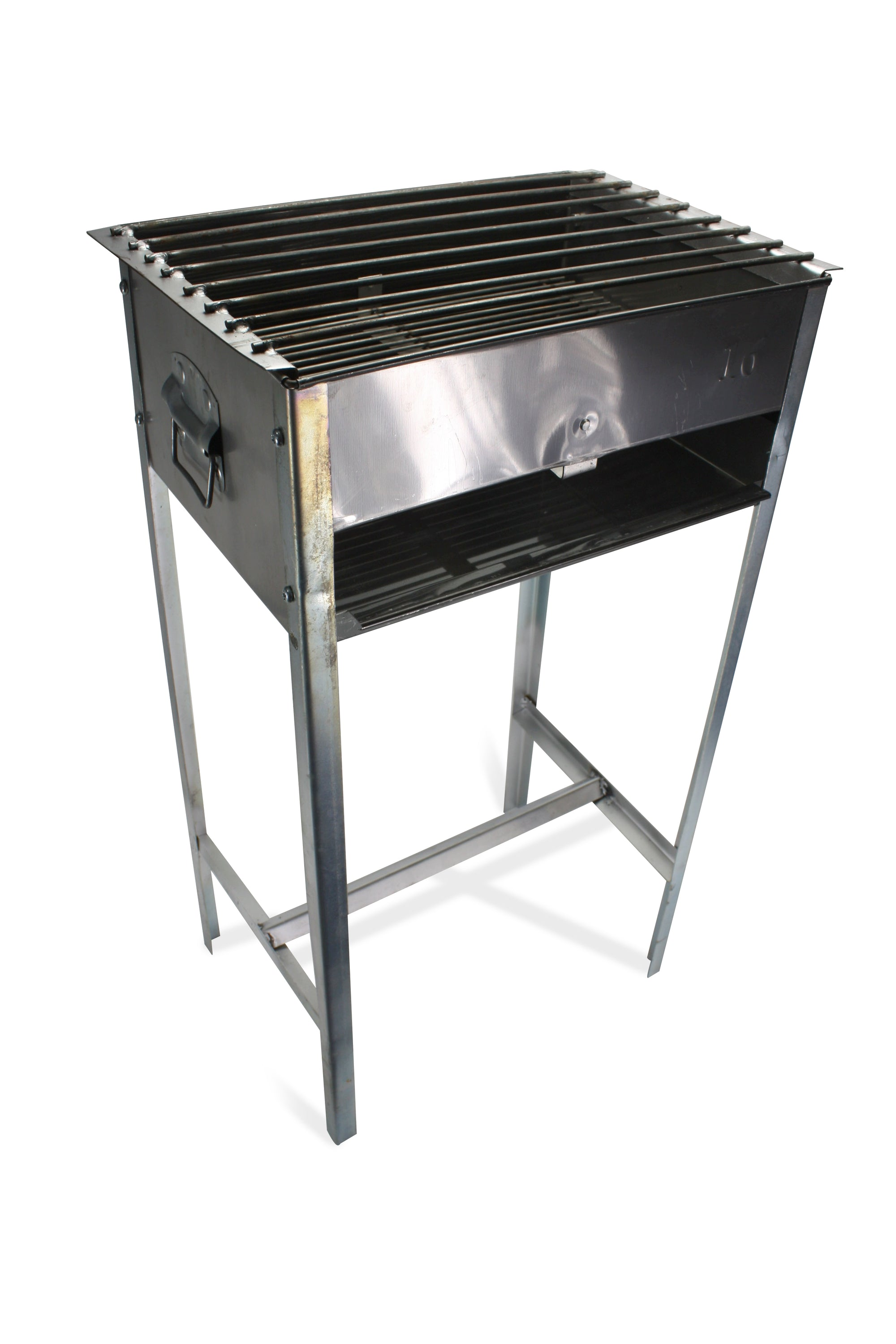Traditional Upright Metal Thai Barbecue Grill with bar supports - 16 x 12 inch size - farangshop-co