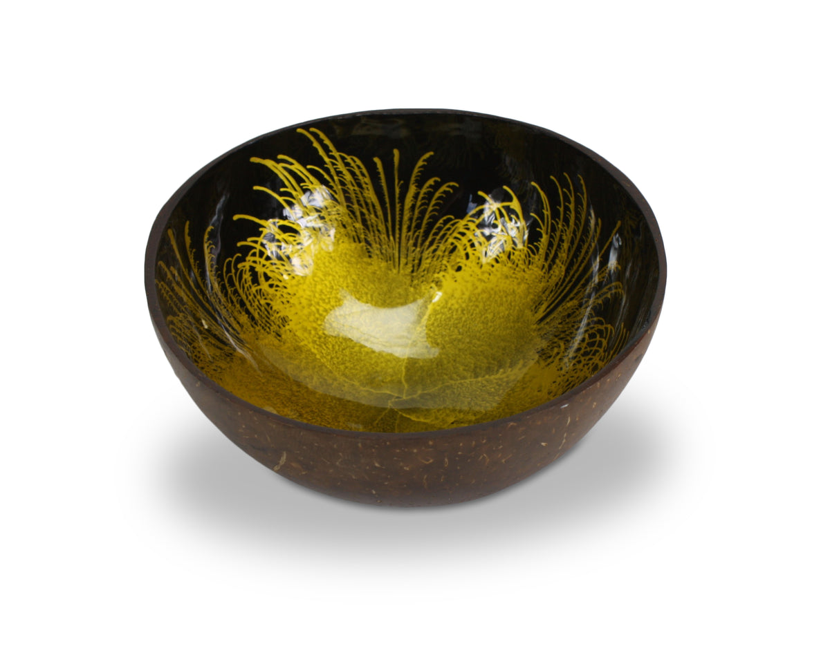 Thai Coconut Shell Bowl - Splash Design - Different Colours Available - farangshop-co