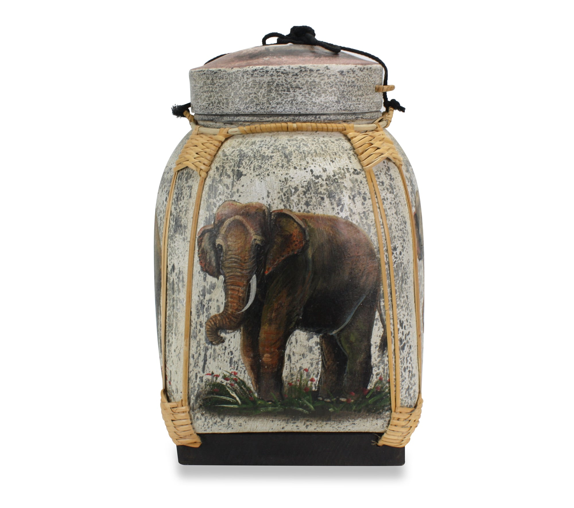 Rice seed box - Extra Large Lacquered Bamboo Basket, 45cm high, Elephants, Standing - farangshop-co