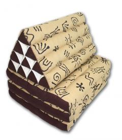 Africa pattern brown cream three-fold Thai cushion - farangshop-co