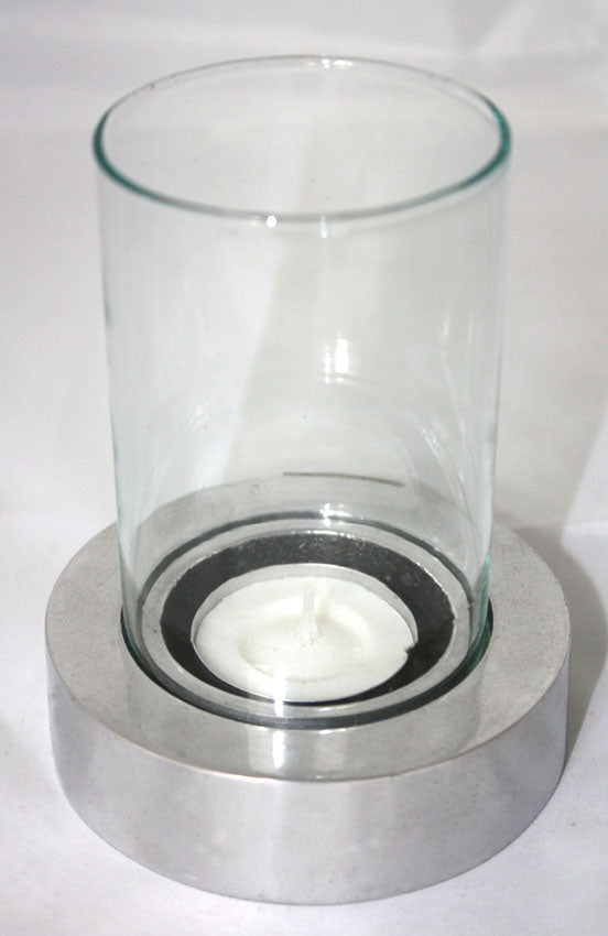 Aluminium candle holder with glass - farangshop-co