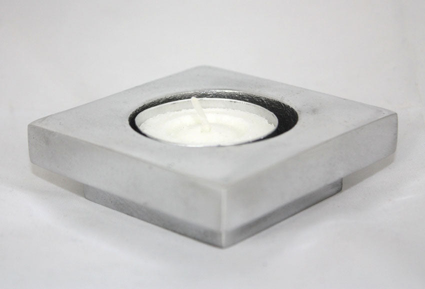 Aluminium candle holder simple square base - Thailand - farangshop-co
