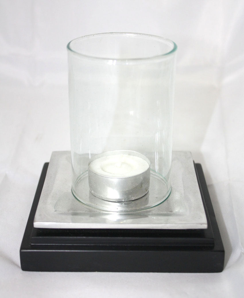 Aluminium candle holder with glass - square - farangshop-co