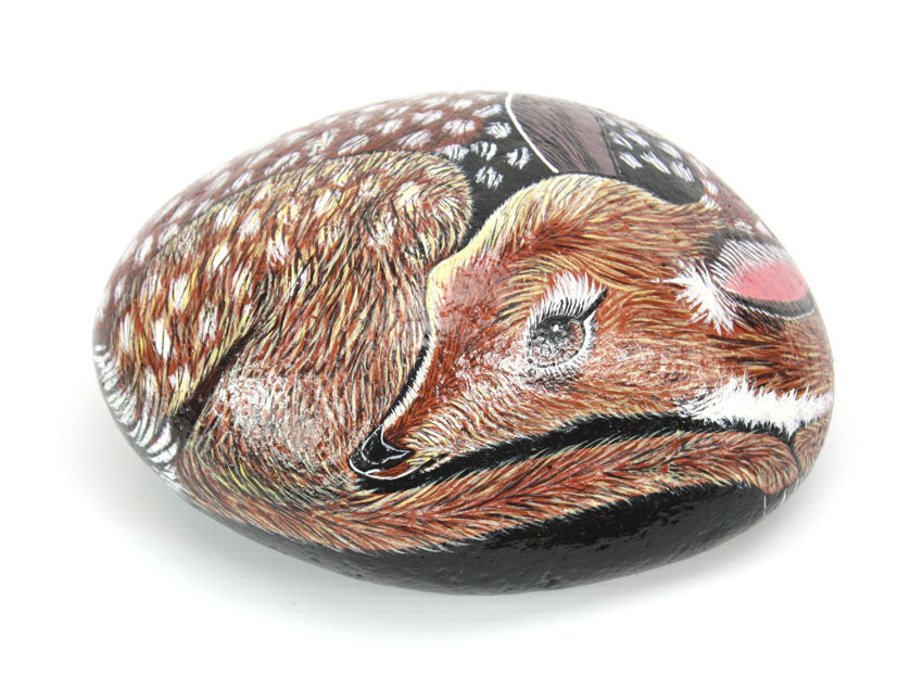Hand painted fawn (baby deer) on rock - farangshop-co