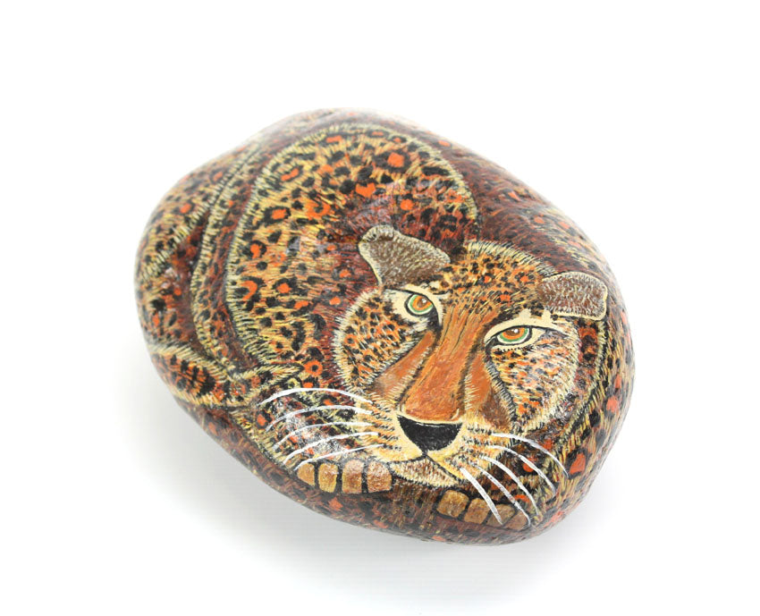 Hand painted leopard on rock - farangshop-co