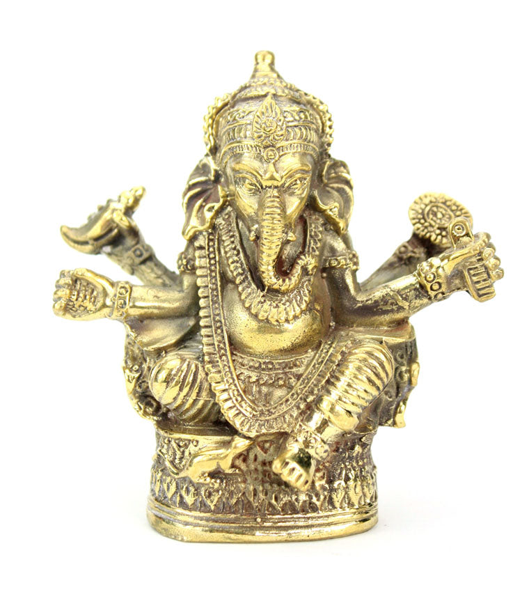 Medium Brass Metal Seated Ganesh Statues - Amulets, 5cm - 9cm high, Selection to Choose from - farangshop-co